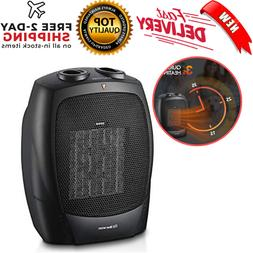 1500W Ceramic Space Heater With Adjustable Thermostat Small