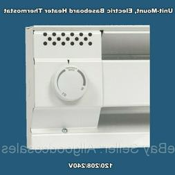 Baseboard Heater Thermostat White CADET Built-In End Mounted