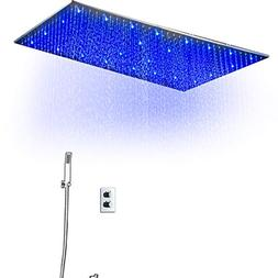 """hm Concealed Thermostat Shower Set with 40""""x20"""" Rainfall LED"""