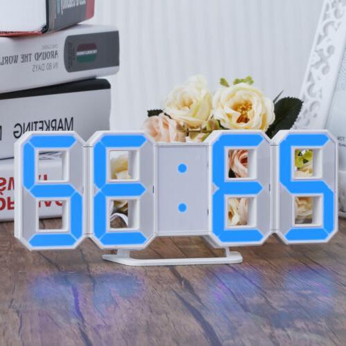 Blue Digital Numbers Wall Clock 3 levels Alarm Clock