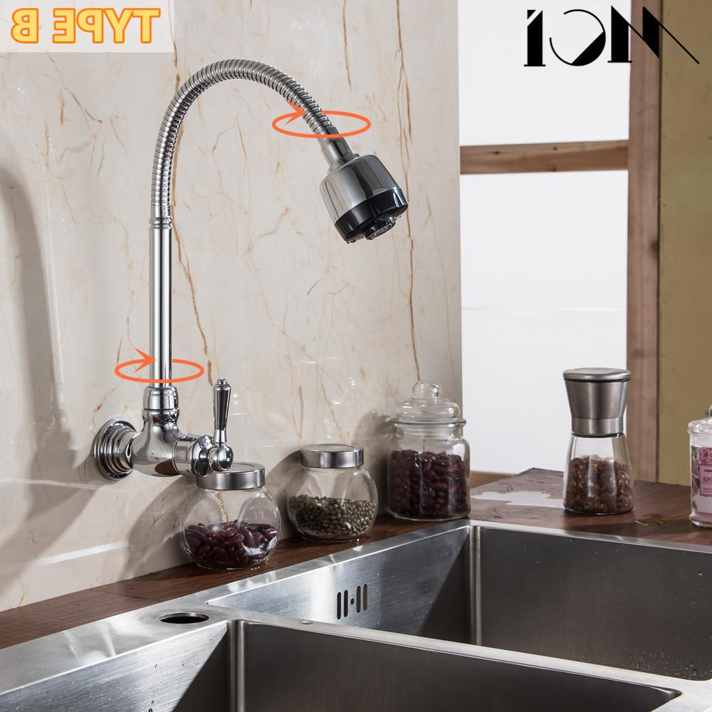 360 Degree Rotatable Single Handle Deck Cold Chrome Kitchen Faucet <font><b>Wall</b></font> Mounted Tap Basin