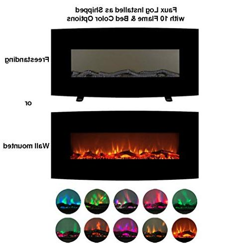 """FLAME&SHADE Electric Fireplace Small Heater 48"""" Panel Free Standing Mount 1500/750w Realistic Effect - - Control"""