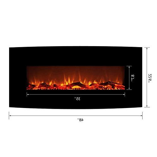 """FLAME&SHADE Electric Small Room - 48"""" Curved Panel - Free Standing Wall Mount - Back-Light Timer -"""