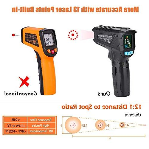 Infrared Thermometer Non-Contact Digital Laser IR for Cooking BBQ Automotive Thermostat Flashlight Backlight LCD
