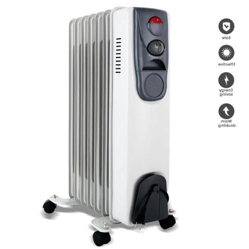 1500W Electric Oil Filled Radiator Space Heater w/7-Fins The