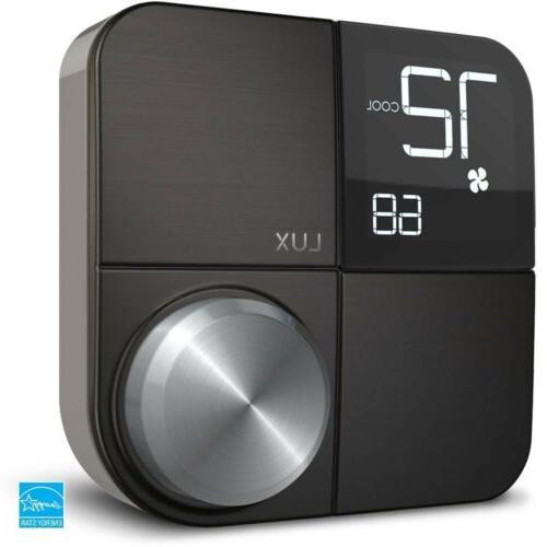 Lux Kono Smart Thermostat Interchangeable Black Steel