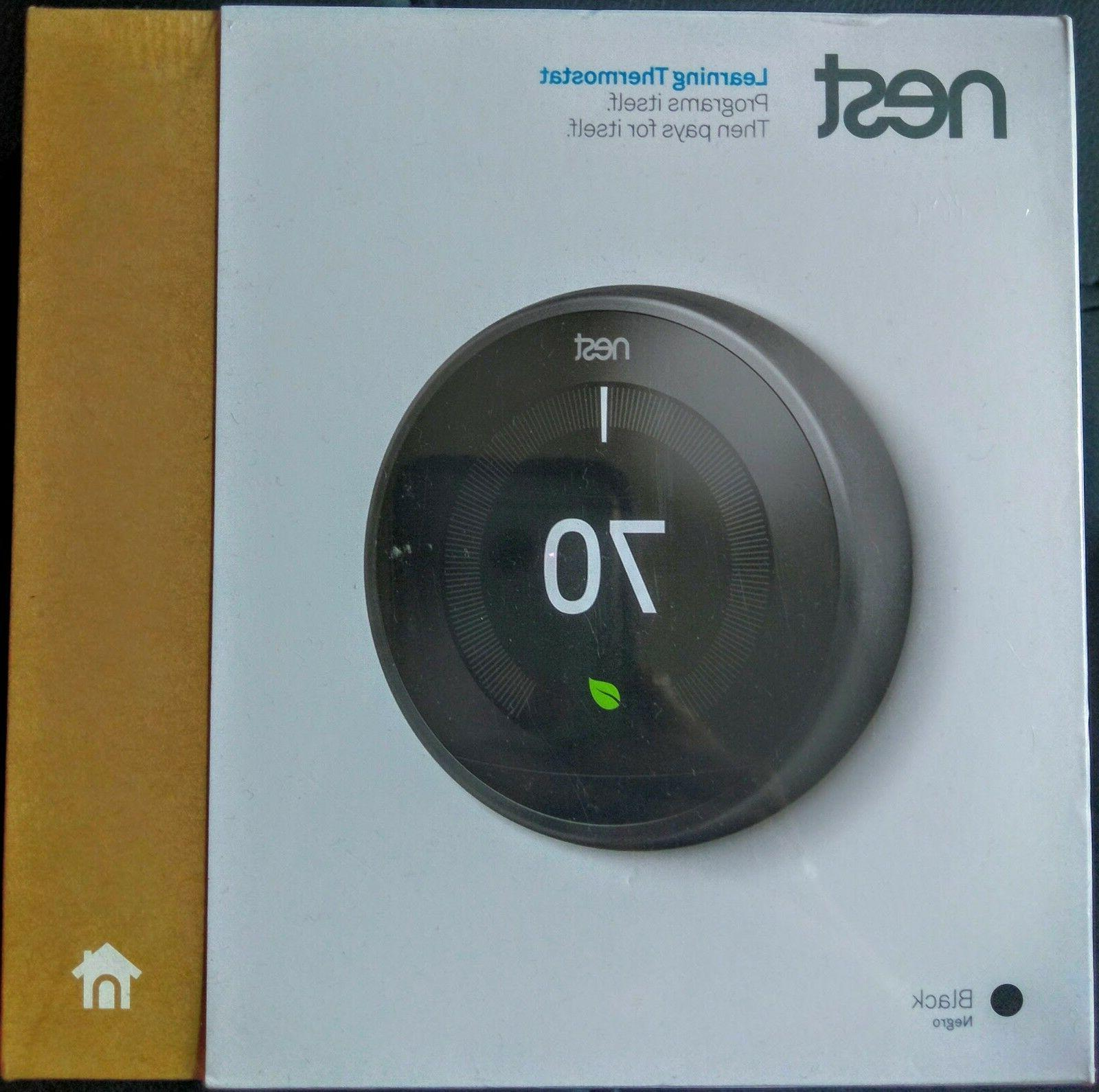 *NEW SEALED* - BLACK - Nest Learning Thermostat 3rd Generati
