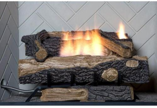 Emberglow Oakwood Vent-Free Fireplace Logs With Thermostatic