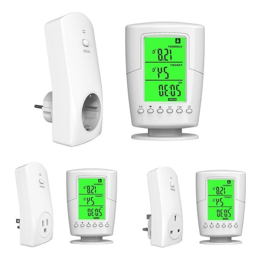 LCD Display Wireless Thermostat Socket Home Temperature Home