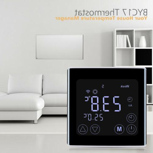 black smart wifi thermostat for home lcd