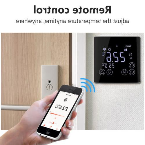 Black Smart Thermostat Touch Screen