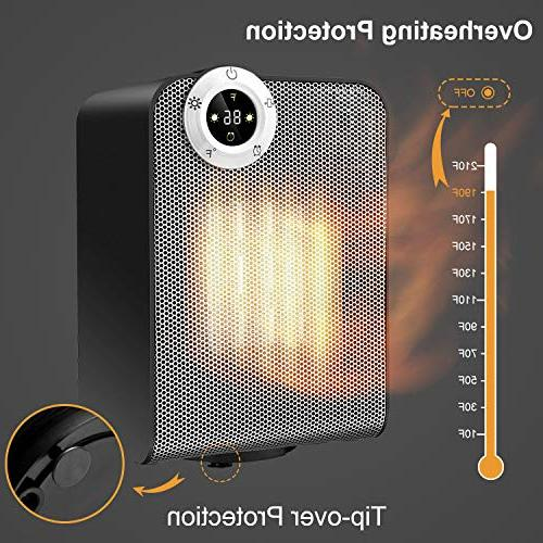 Space Electric Ceramic Heaters for Quiet Desk, 1000/1500W Oscillating Heater with Digital Protection