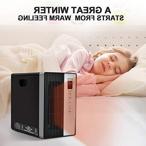 Space 1500W Electric Heating with Remote, Temperature Shut Off Energy Saving, Timer Setting, 3