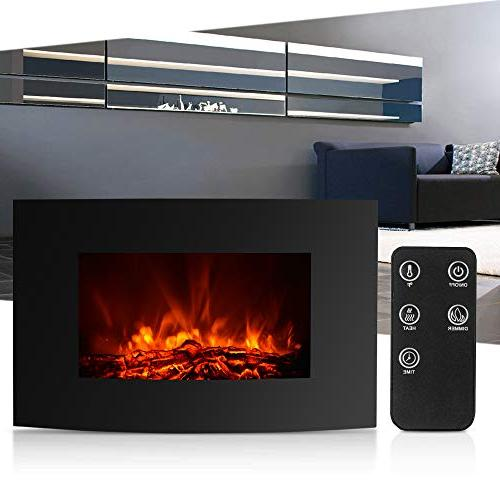 IKAYAA Mounted Electric Fireplace, Fireplace Heater, Adjustable Heater Remote Control, Black