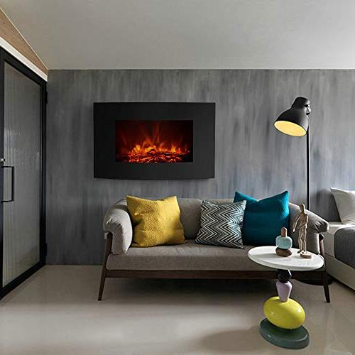IKAYAA Wall Mounted Fireplace, Inch Hanging 3D Flame Fireplace Heater, Thermostat Adjustable 1500W with Remote