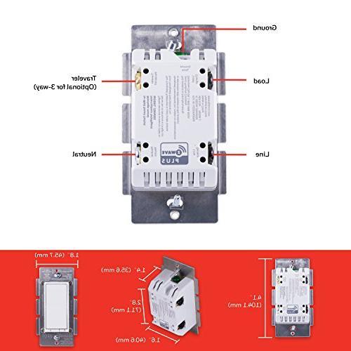 Honeywell Smart Light Switch, Paddle, White Range Extender | Hub