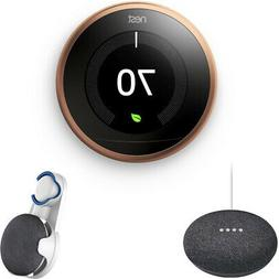 Nest Learning Thermostat 3rd Gen Copper with Charcoal Google