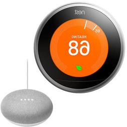 Nest Learning Thermostat 3rd Gen with Google Mini Home Smart