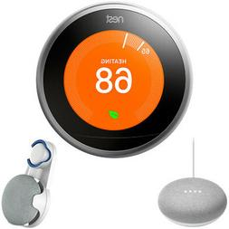 Nest Learning Thermostat Gen3 Stainless Steel, Chalk Google