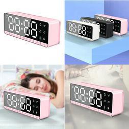 Office Home Desktop LED Dual Alarm Mirror Clock Bluetooth Sp