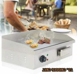 """Pro Electric Griddle Flat Top Grill 3000W 22"""" Hot Plate BBQ"""