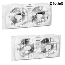 Set of 2 Twin Window Fan Slim Dual Blade Exhaust Indoor Air
