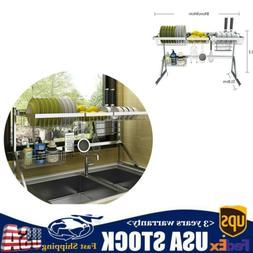 Stainless Steel Over Sink Dish Drying Rack Shelf Drainer Cut